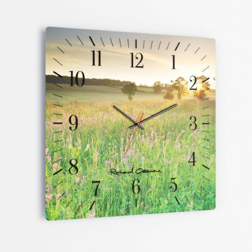 Sainfoin Wildflowers - Square Glass Clock
